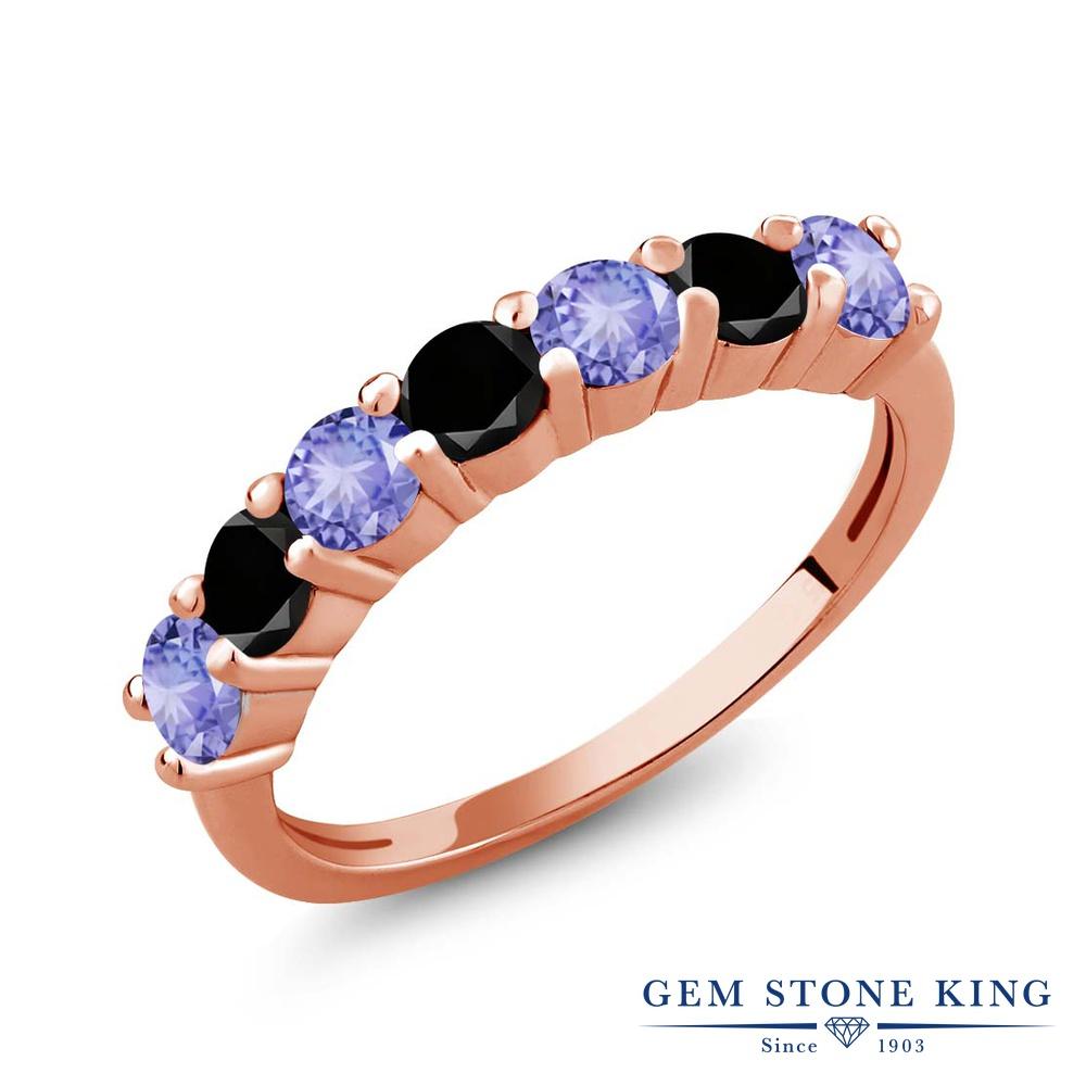 Gem Stone King 1.23カラット 天然石 タンザナイト 天然ブラックダイヤモンド シルバー925 ピンクゴールドコーティング 指輪 リング レディース 小粒 バンド 天然石 12月 誕生石 金属アレルギー対応 誕生日プレゼント