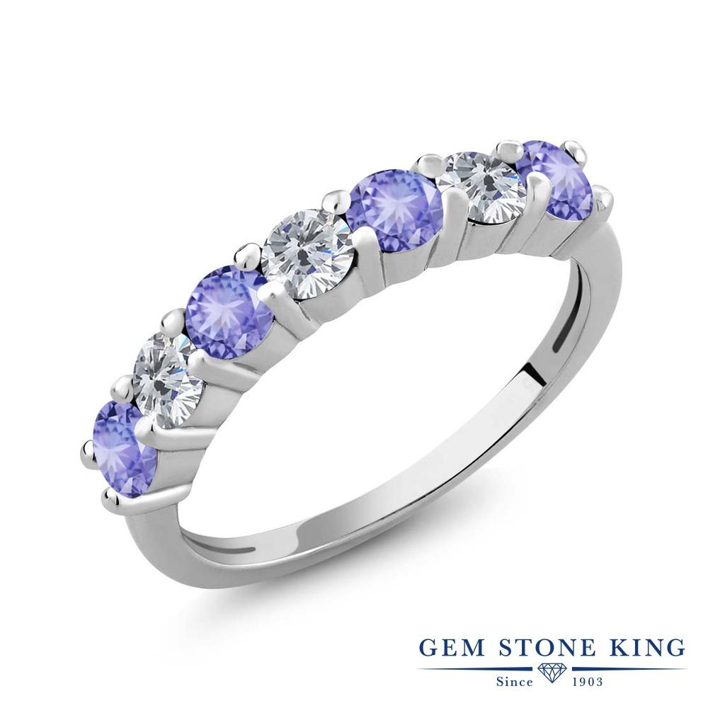 Gem Stone King 1.17カラット 天然石 タンザナイト 天然 ダイヤモンド シルバー925 指輪 リング レディース 小粒 バンド 天然石 12月 誕生石 金属アレルギー対応 誕生日プレゼント