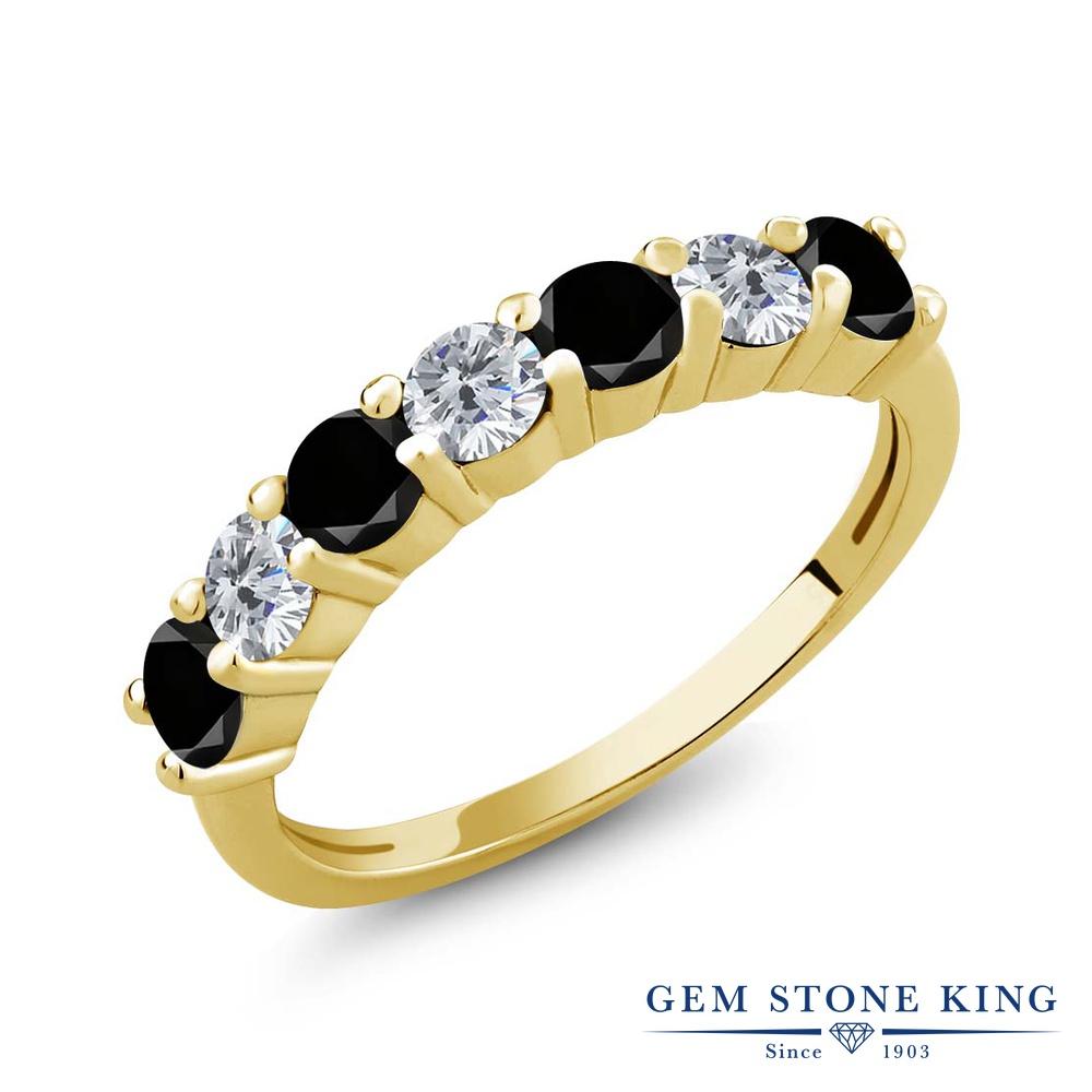 1.19カラット ブラックダイヤモンド 指輪 リング レディース シルバー925 イエローゴールド 加工 ブラック ダイヤ 小粒 バンド 天然石 4月 誕生石 クリスマスプレゼント 女性 彼女 妻 誕生日