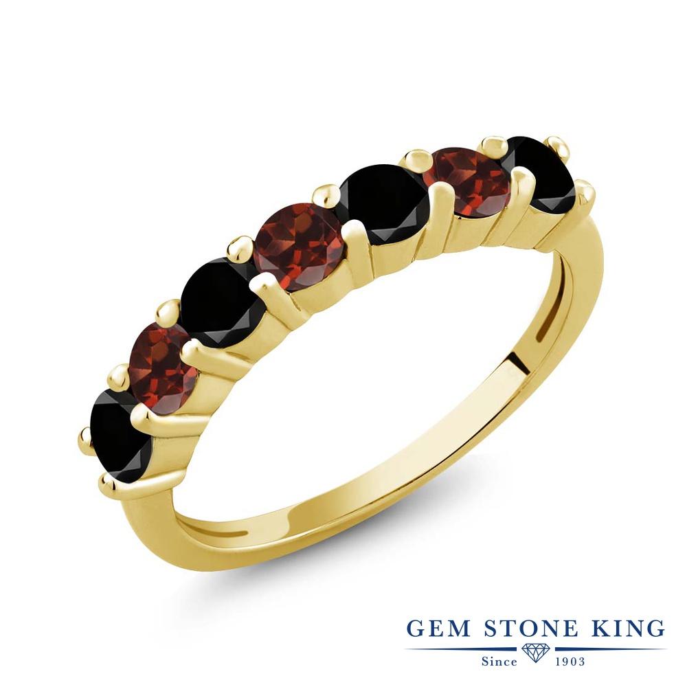 Gem Stone King 1.28カラット 天然ブラックダイヤモンド 天然 ガーネット シルバー925 イエローゴールドコーティング 指輪 リング レディース ブラック ダイヤ 小粒 バンド 天然石 4月 誕生石 金属アレルギー対応 誕生日プレゼント
