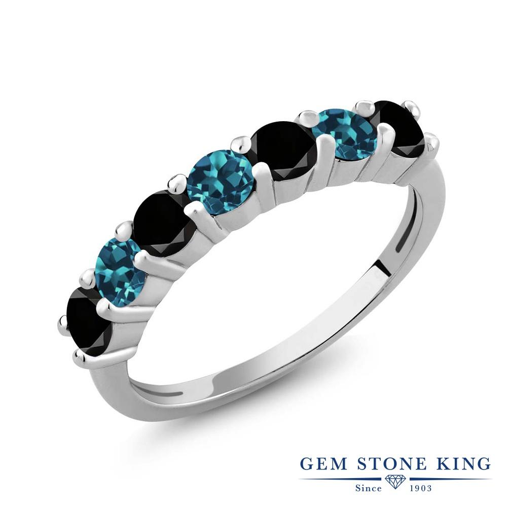 Gem Stone King 1.28カラット 天然ブラックダイヤモンド 天然 ロンドンブルートパーズ シルバー925 指輪 リング レディース ブラック ダイヤ 小粒 バンド 天然石 4月 誕生石 金属アレルギー対応 誕生日プレゼント