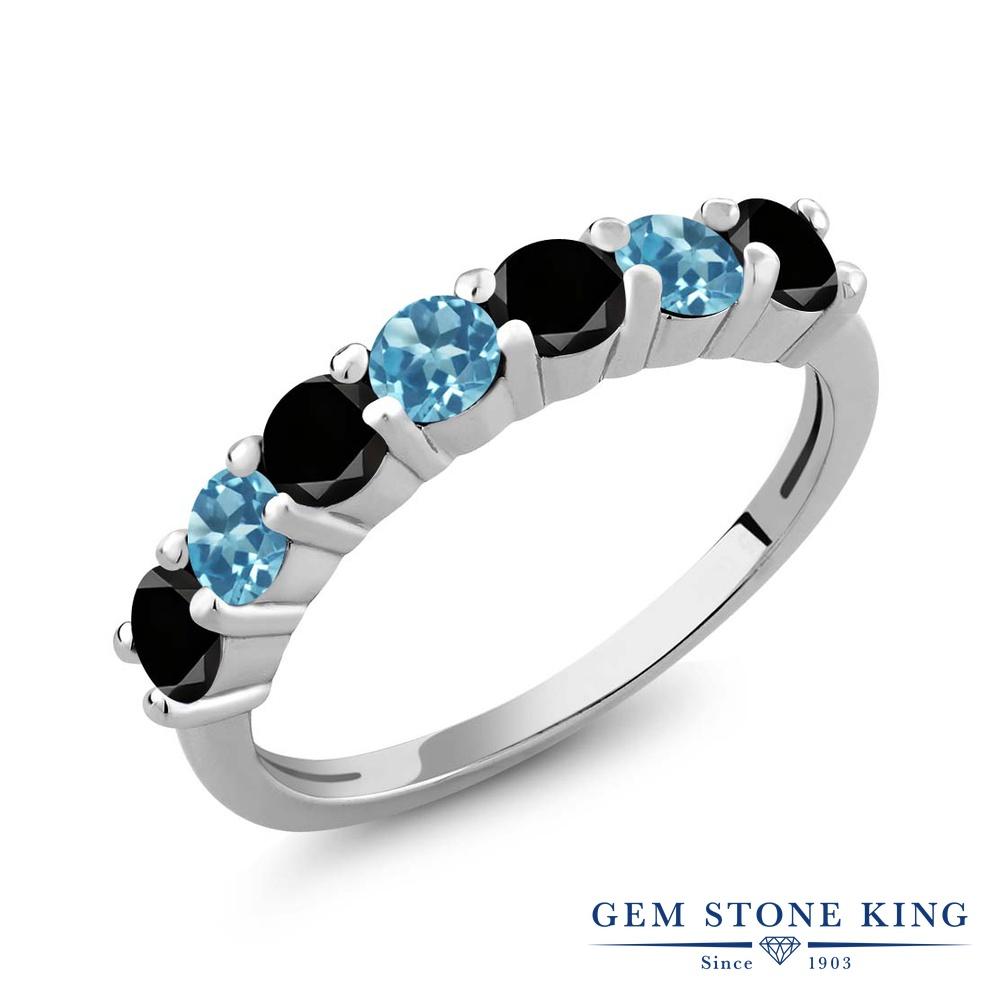 Gem Stone King 1.28カラット 天然ブラックダイヤモンド 天然 スイスブルートパーズ シルバー925 指輪 リング レディース ブラック ダイヤ 小粒 バンド 天然石 4月 誕生石 金属アレルギー対応 誕生日プレゼント