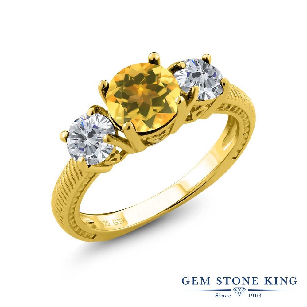 Gem Stone King 2.3カラット 天然 シトリン 天然 ダイヤモンド シルバー925 イエローゴールドコーティング 指輪 リング レディース 大粒 シンプル スリーストーン 天然石 11月 誕生石 金属アレルギー対応 誕生日プレゼント