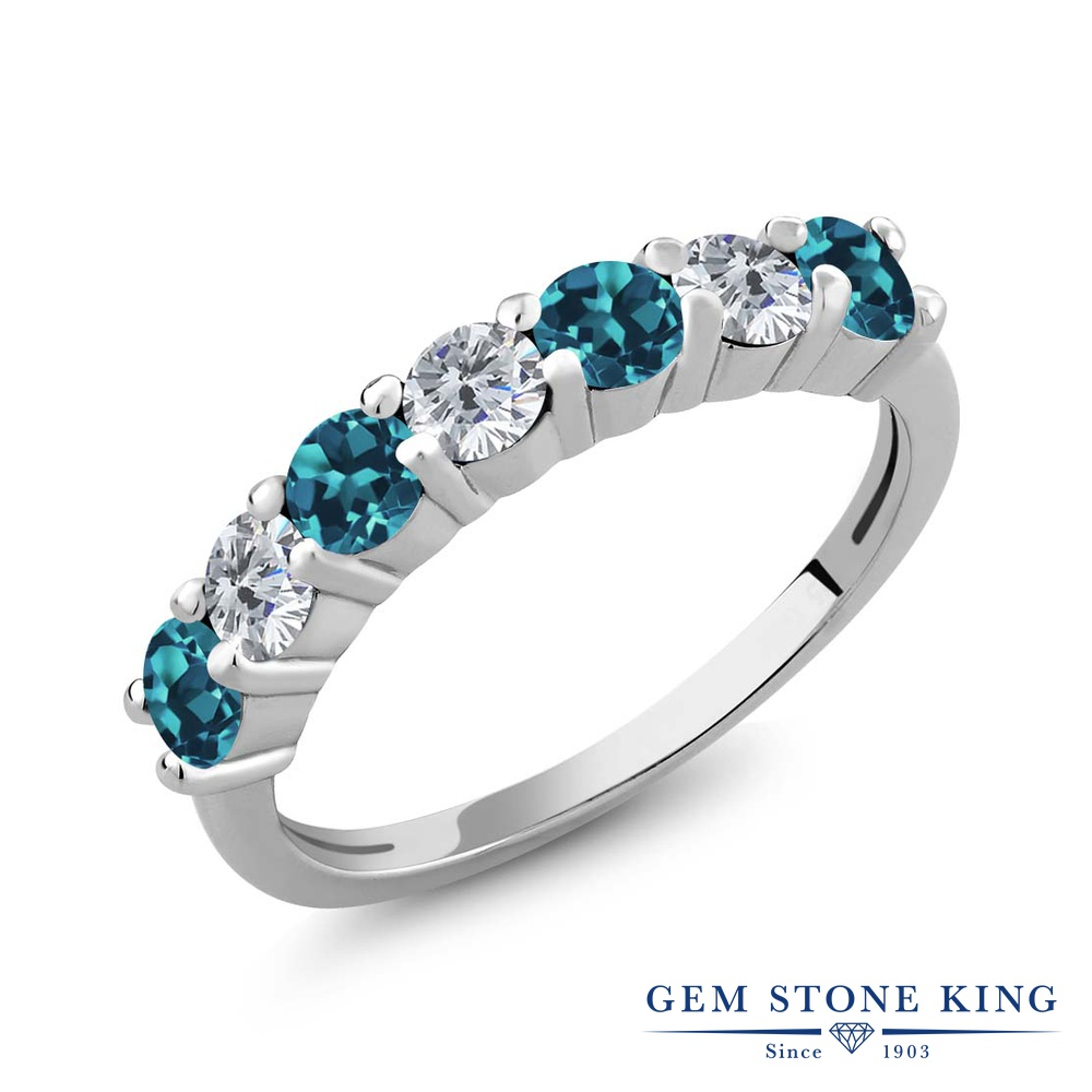 1.25カラット 天然 ロンドンブルートパーズ ダイヤモンド 指輪 リング レディース シルバー925 小粒 バンド 天然石 11月 誕生石 プレゼント 女性 彼女 妻 誕生日