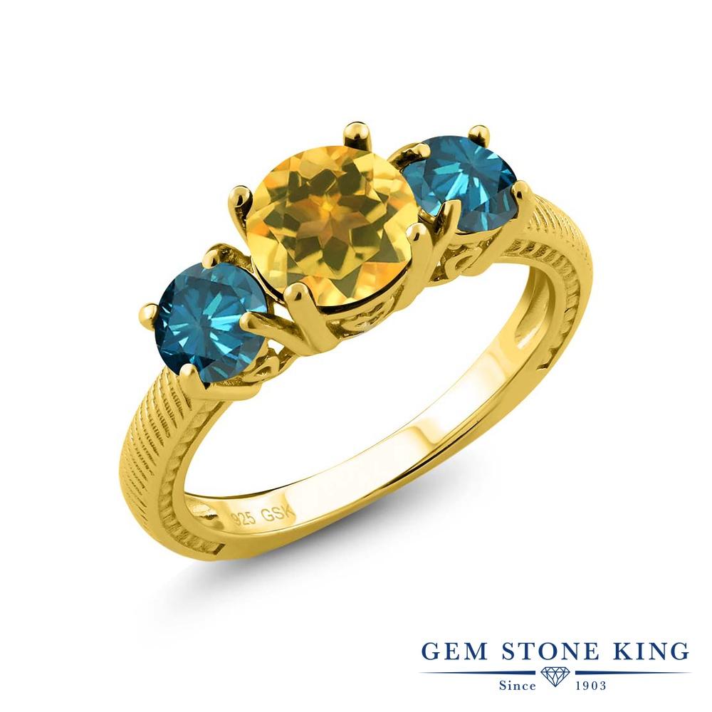 Gem Stone King 2.4カラット 天然シトリン シルバー 925 イエローゴールドコーティング 天然ブルーダイヤモンド 指輪 リング レディース 大粒 シンプル スリーストーン 天然石 誕生石 金属アレルギー対応 誕生日プレゼント