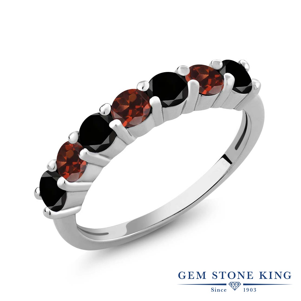 Gem Stone King 1.28カラット 天然ブラックダイヤモンド 天然 ガーネット シルバー925 指輪 リング レディース ブラック ダイヤ 小粒 バンド 天然石 4月 誕生石 金属アレルギー対応 誕生日プレゼント
