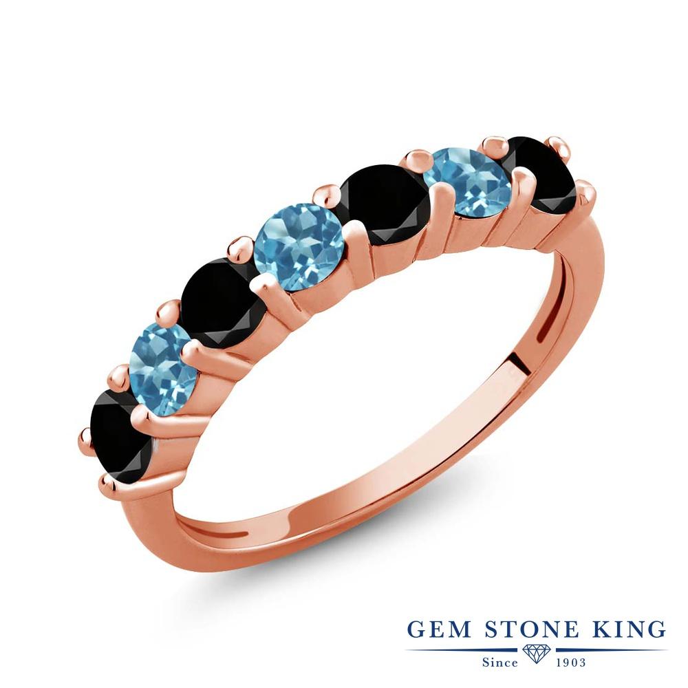 Gem Stone King 1.28カラット 天然ブラックダイヤモンド 天然 スイスブルートパーズ シルバー925 ピンクゴールドコーティング 指輪 リング レディース ブラック ダイヤ 小粒 バンド 天然石 4月 誕生石 金属アレルギー対応 誕生日プレゼント