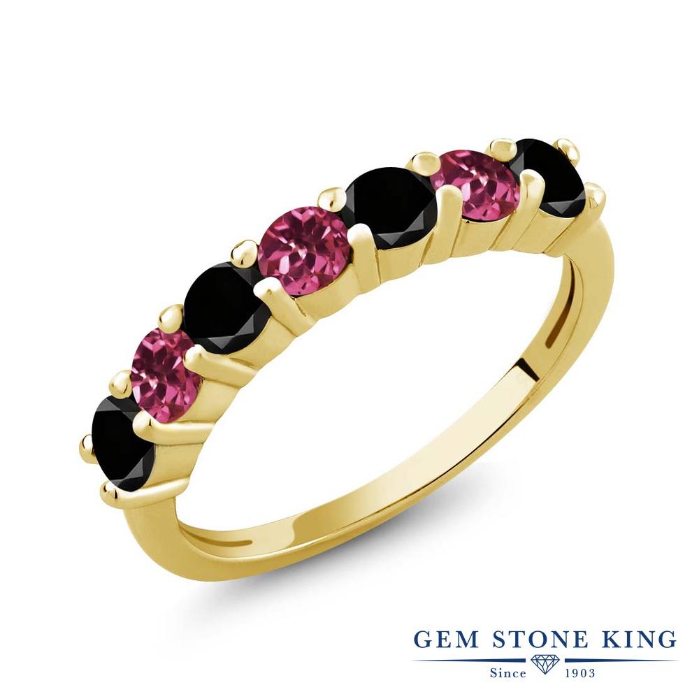 Gem Stone King 1.13カラット 天然ブラックダイヤモンド 天然 ピンクトルマリン シルバー925 イエローゴールドコーティング 指輪 リング レディース ブラック ダイヤ 小粒 バンド 天然石 4月 誕生石 金属アレルギー対応 誕生日プレゼント