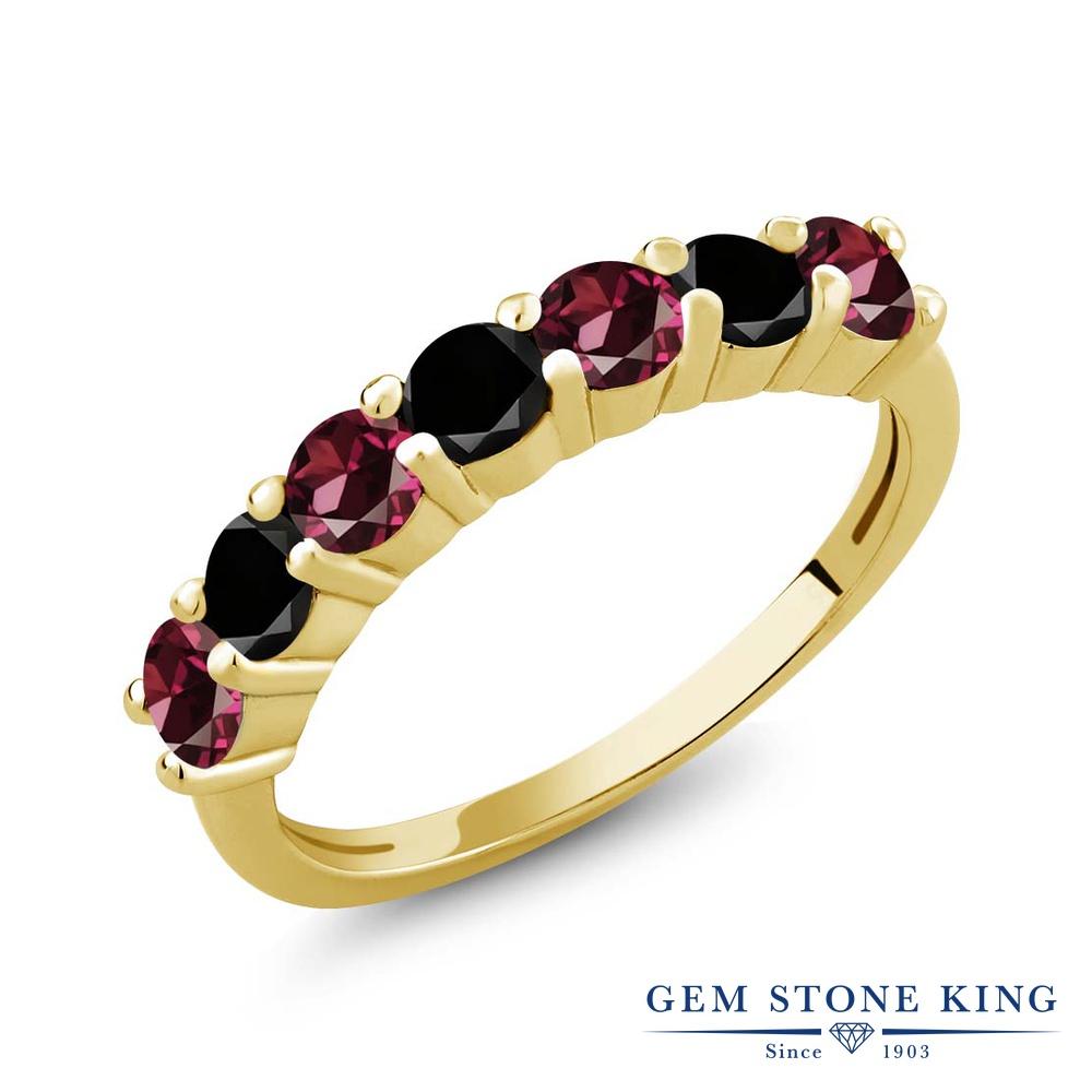 Gem Stone King 1.39カラット 天然 ロードライトガーネット 天然ブラックダイヤモンド シルバー925 イエローゴールドコーティング 指輪 リング レディース 小粒 バンド 天然石 金属アレルギー対応 誕生日プレゼント