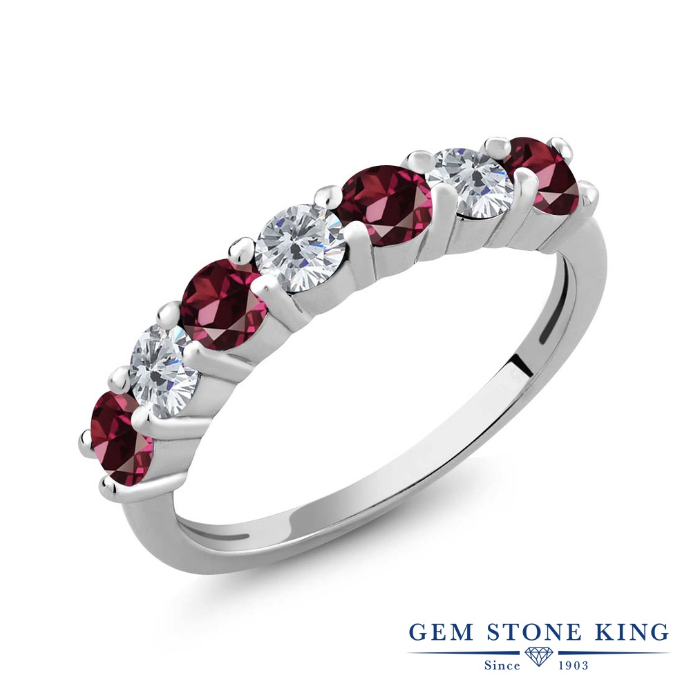 Gem Stone King 1.33カラット 天然 ロードライトガーネット 天然 ダイヤモンド シルバー925 指輪 リング レディース 小粒 バンド 天然石 金属アレルギー対応 誕生日プレゼント