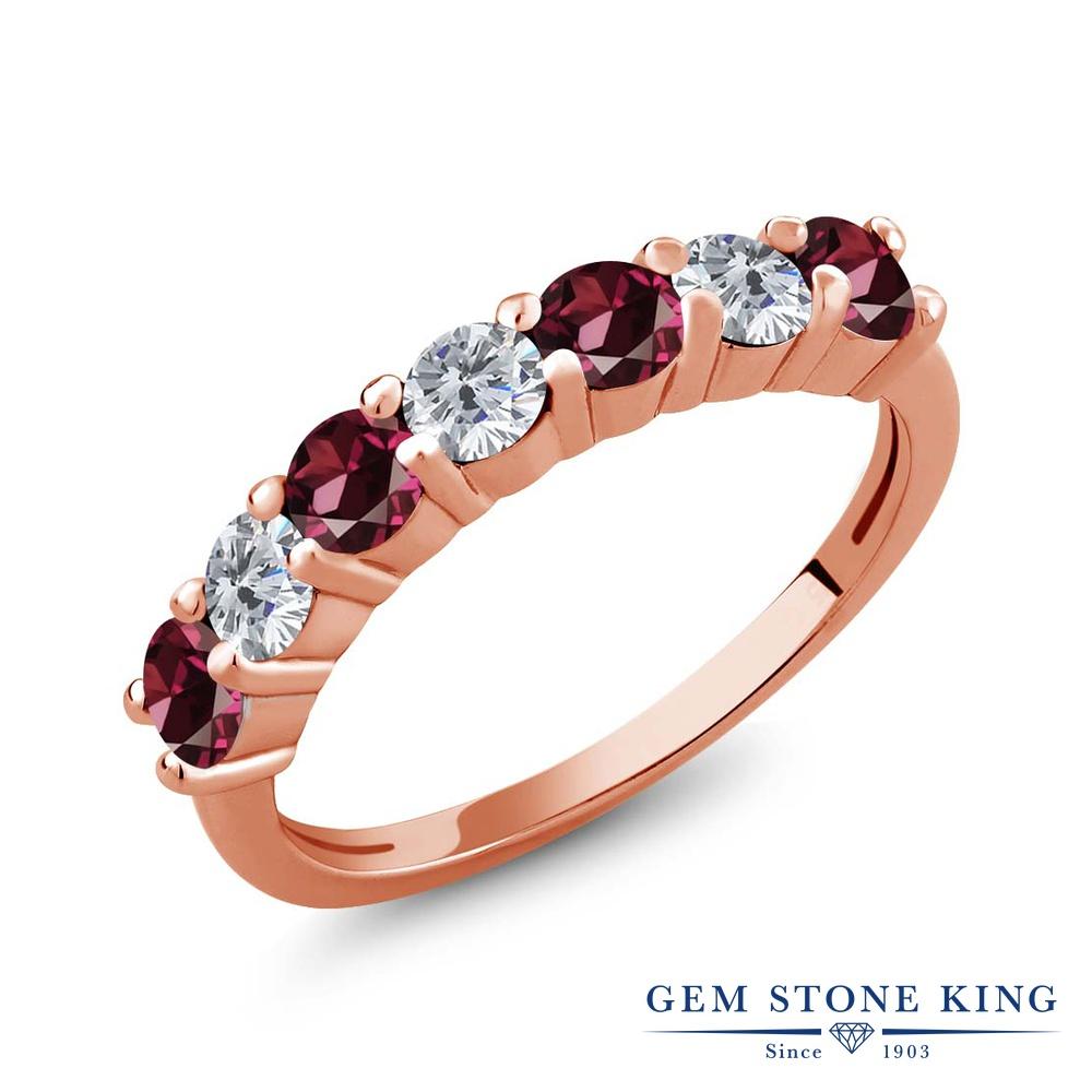 Gem Stone King 1.39カラット 天然 ロードライトガーネット 天然 ダイヤモンド シルバー925 ピンクゴールドコーティング 指輪 リング レディース 小粒 バンド 天然石 金属アレルギー対応 誕生日プレゼント