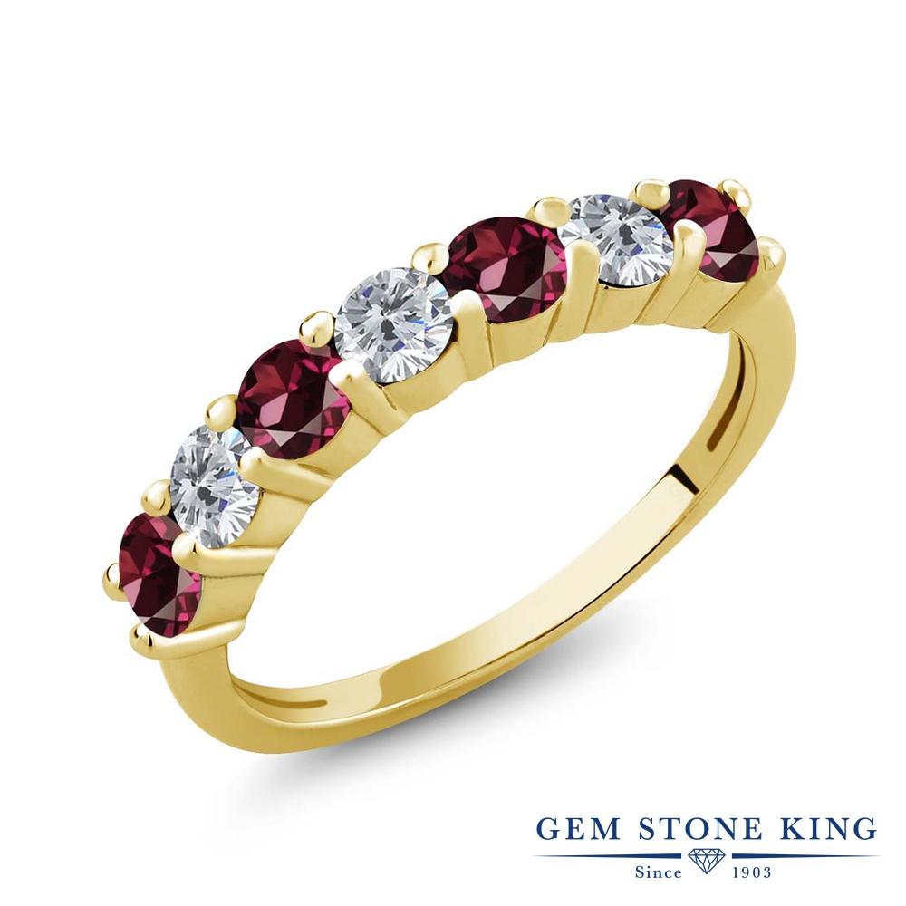 Gem Stone King 1.39カラット 天然 ロードライトガーネット 天然 ダイヤモンド シルバー925 イエローゴールドコーティング 指輪 リング レディース 小粒 バンド 天然石 金属アレルギー対応 誕生日プレゼント