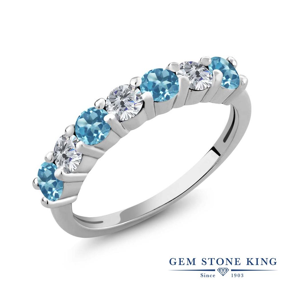 Gem Stone King 1.25カラット 天然トパーズ(スイスブルー) シルバー925 天然ダイヤモンド 指輪 リング レディース 小粒 天然石 誕生石 誕生日プレゼント