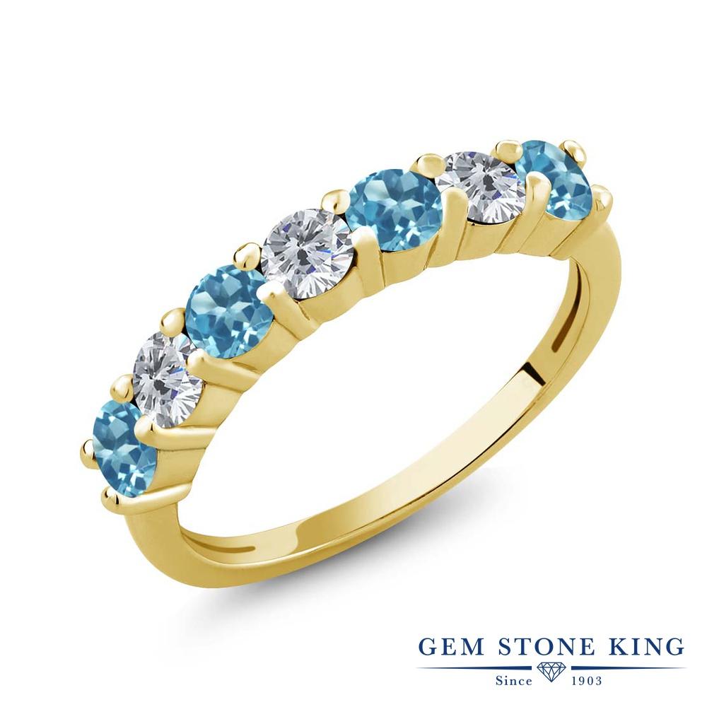 Gem Stone King 1.25カラット 天然トパーズ(スイスブルー) シルバー 925 イエローゴールドコーティング 天然ダイヤモンド 指輪 リング レディース 小粒 天然石 誕生石 誕生日プレゼント