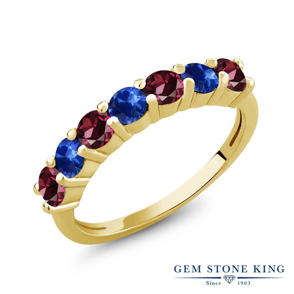 Gem Stone King 1.60カラット 天然ロードライトガーネット 天然サファイア シルバー 925 イエローゴールドコーティング 指輪 リング レディース 小粒 バンド 天然石 金属アレルギー対応 誕生日プレゼント