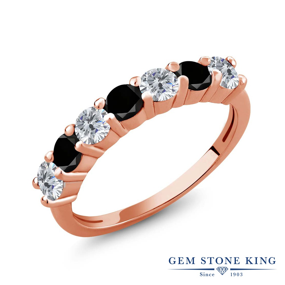 【クーポンで10%OFF】 Gem Stone King 1.11カラット 天然 ダイヤモンド シルバー925 ピンクゴールドコーティング 指輪 リング レディース ダイヤ 小粒 バンド 天然石 4月 誕生石 金属アレルギー対応 誕生日プレゼント