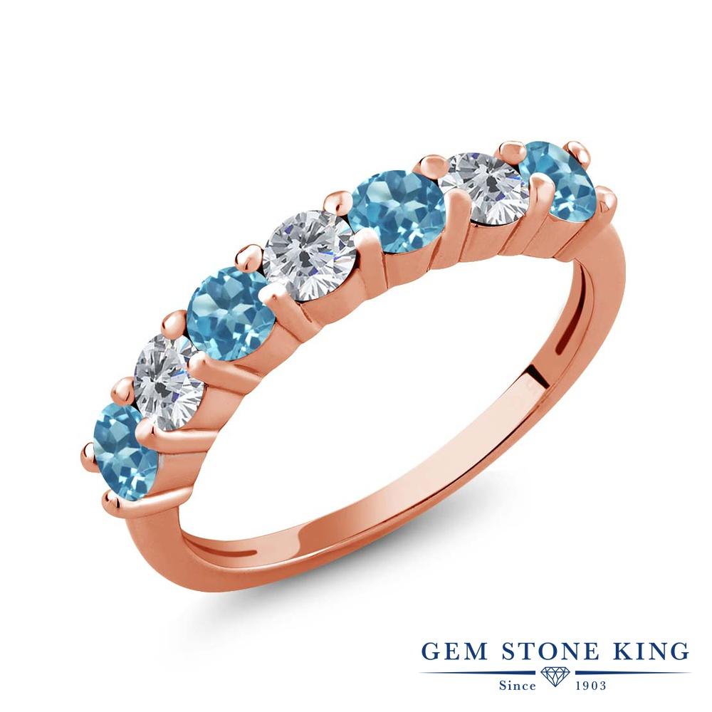 Gem Stone King 1.31カラット 天然 スイスブルートパーズ 天然 ダイヤモンド シルバー925 ピンクゴールドコーティング 指輪 リング レディース 小粒 バンド 天然石 11月 誕生石 金属アレルギー対応 誕生日プレゼント