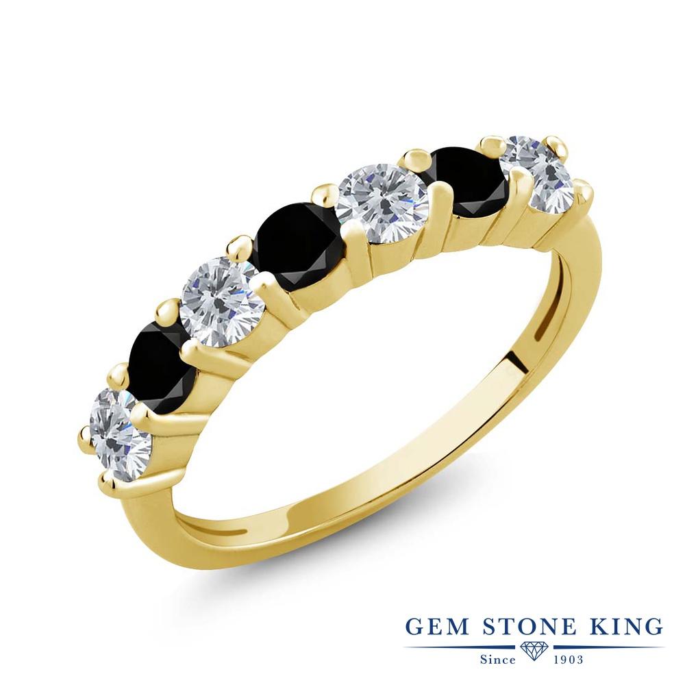 【クーポンで10%OFF】 Gem Stone King 1.11カラット 天然 ダイヤモンド シルバー925 イエローゴールドコーティング 指輪 リング レディース ダイヤ 小粒 バンド 天然石 4月 誕生石 金属アレルギー対応 誕生日プレゼント