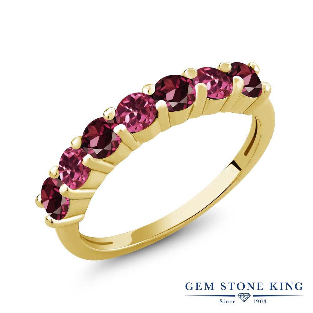 Gem Stone King 1.33カラット 天然ロードライトガーネット 天然トルマリン(ピンク) シルバー 925 イエローゴールドコーティング 指輪 リング レディース 小粒 バンド 天然石 金属アレルギー対応 誕生日プレゼント