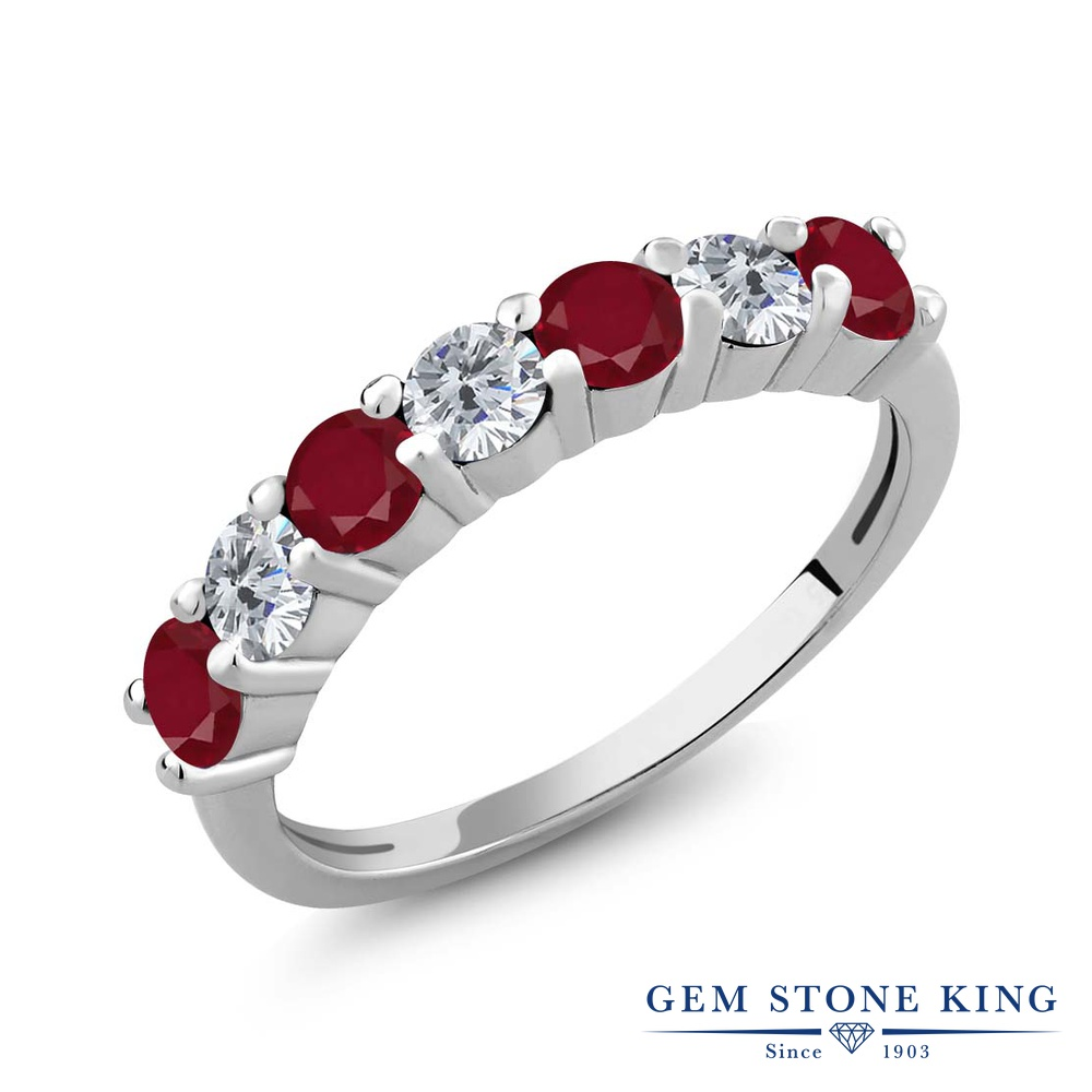 1.33カラット 天然 ルビー 指輪 レディース リング ダイヤモンド シルバー925 ブランド おしゃれ 赤 小粒 バンド 天然石 7月 誕生石 プレゼント 女性 彼女 妻 誕生日