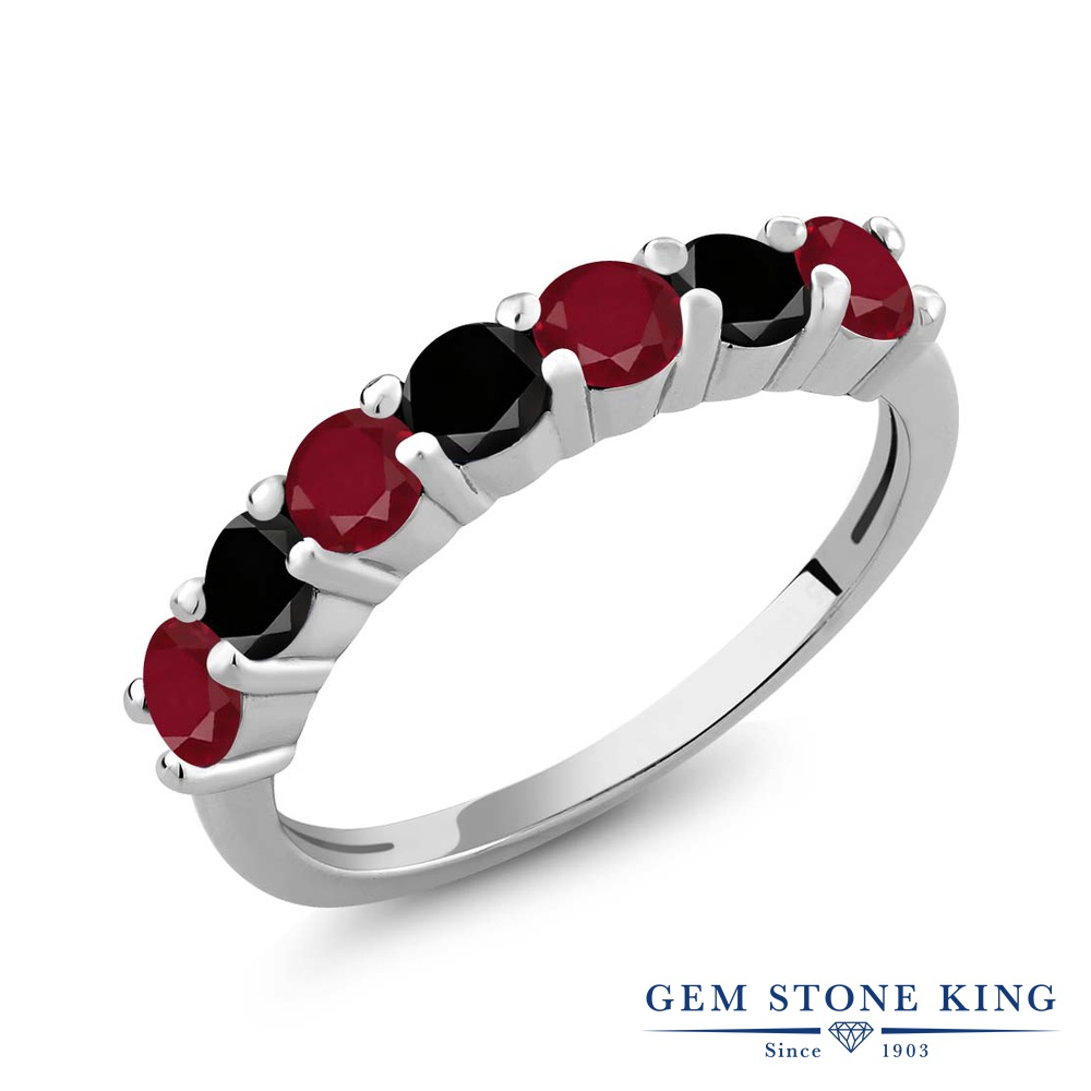 Gem Stone King 1.39カラット 天然 ルビー 天然ブラックダイヤモンド シルバー925 指輪 リング レディース 小粒 バンド 天然石 7月 誕生石 金属アレルギー対応 誕生日プレゼント