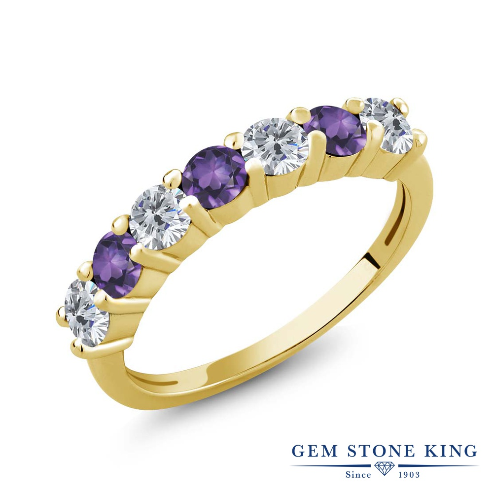 Gem Stone King 1.05カラット 天然ダイヤモンド 天然アメジスト シルバー 925 イエローゴールドコーティング 指輪 リング レディース 小粒 天然石 誕生石 誕生日プレゼント