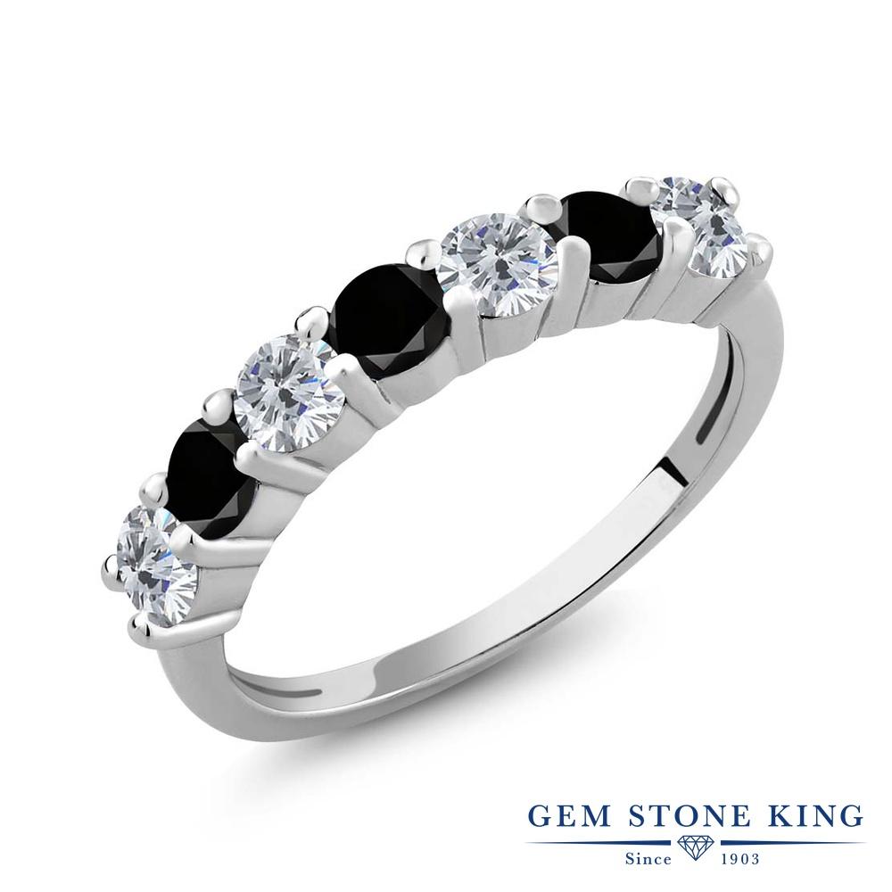 【クーポンで10%OFF】 Gem Stone King 1.11カラット 天然 ダイヤモンド シルバー925 指輪 リング レディース ダイヤ 小粒 バンド 天然石 4月 誕生石 金属アレルギー対応 誕生日プレゼント