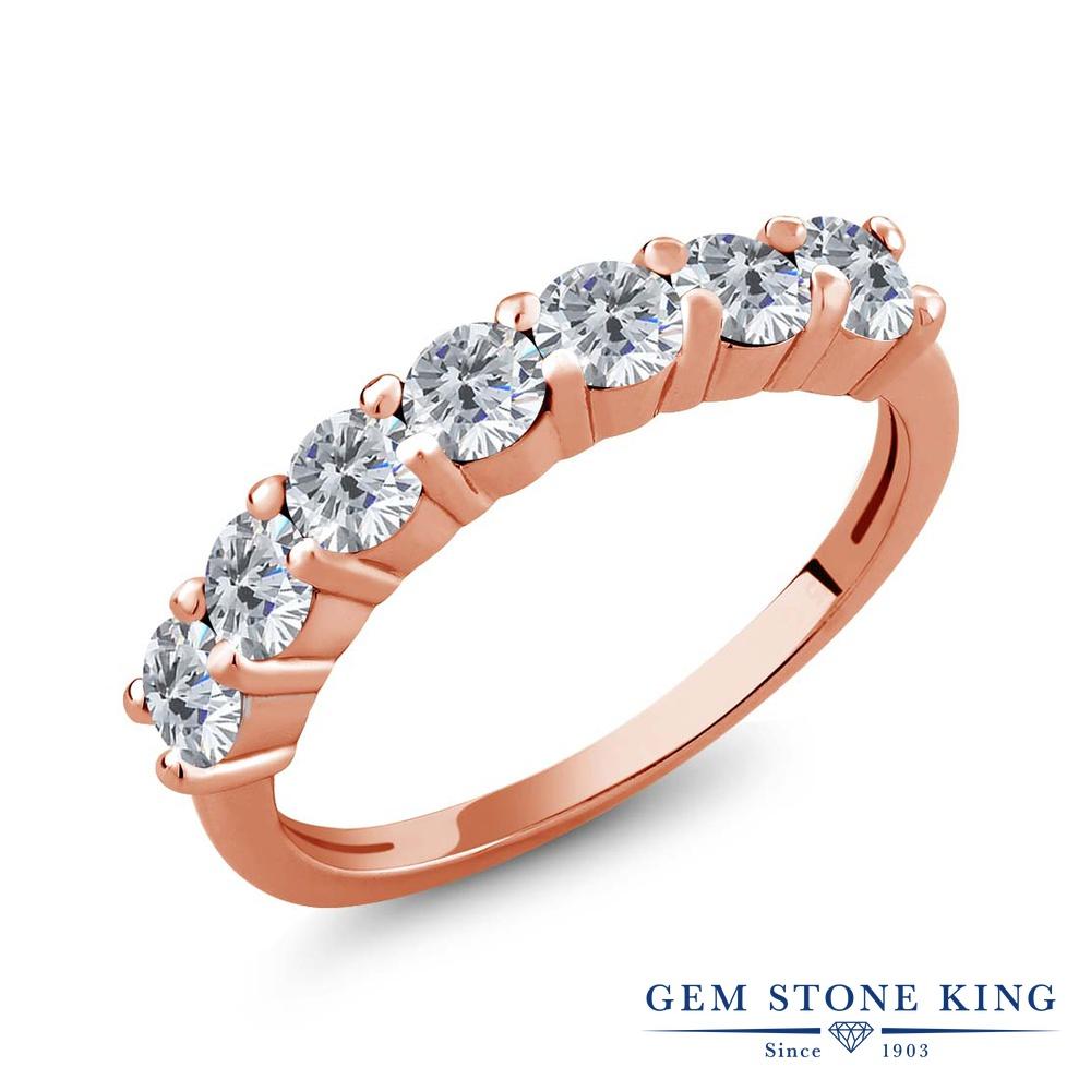 Gem Stone King 1.05カラット 天然 ダイヤモンド シルバー925 ピンクゴールドコーティング 指輪 リング レディース ダイヤ 小粒 バンド 天然石 4月 誕生石 金属アレルギー対応 誕生日プレゼント