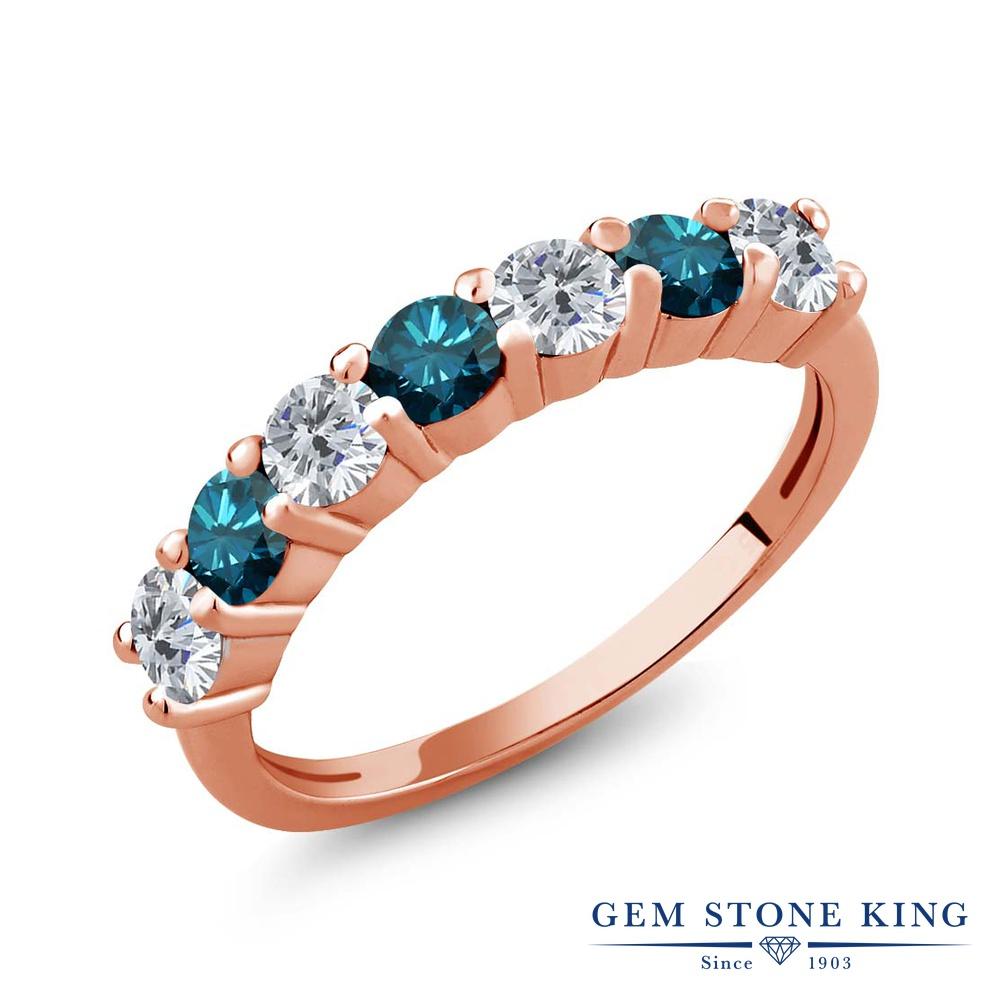 1.05カラット 天然 ダイヤモンド 指輪 レディース リング ピンクゴールド 加工 シルバー925 ブランド おしゃれ ダイヤ 小粒 バンド 天然石 4月 誕生石 プレゼント 女性 彼女 妻 誕生日