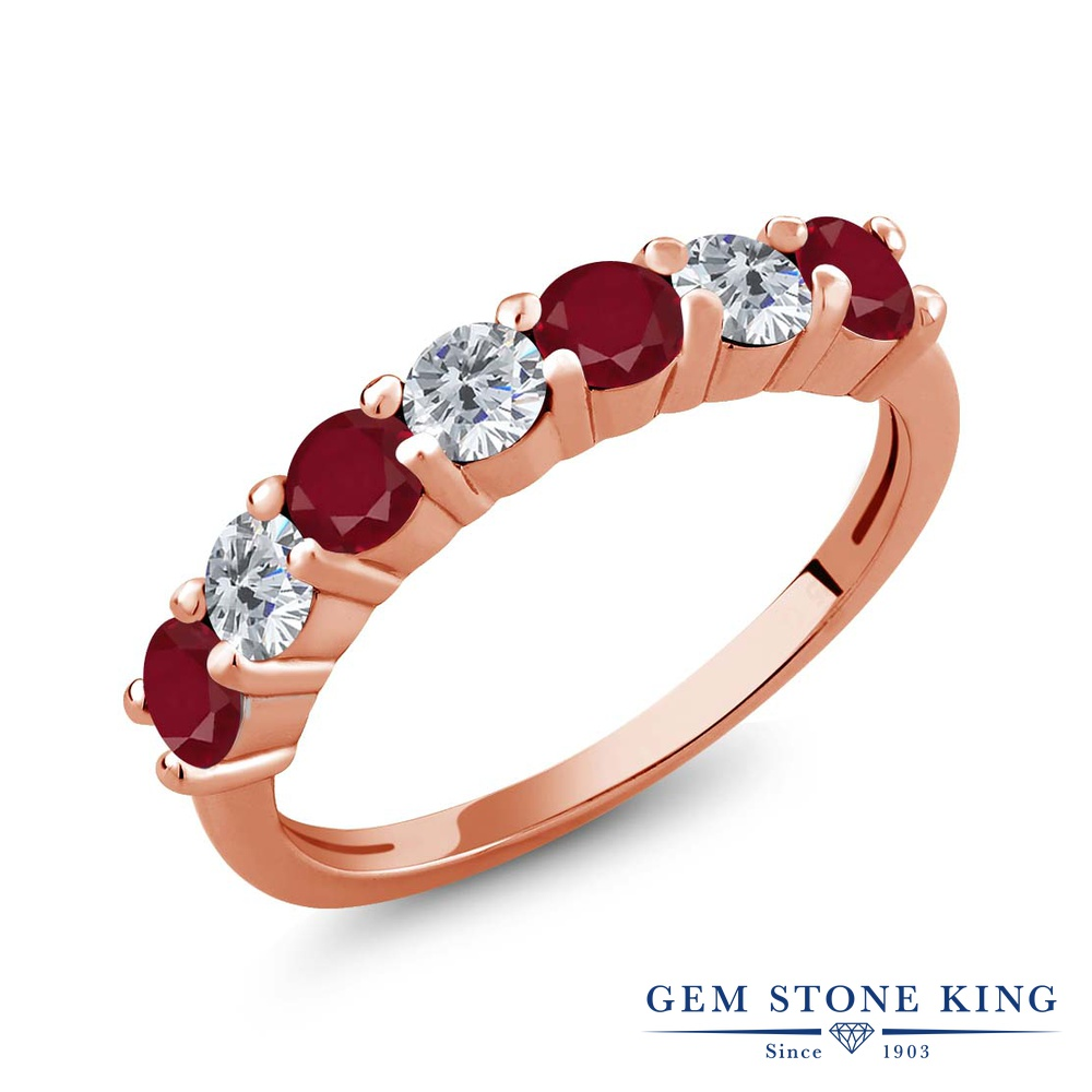 Gem Stone King 1.39カラット 天然 ルビー 天然 ダイヤモンド シルバー925 ピンクゴールドコーティング 指輪 リング レディース 小粒 バンド 天然石 7月 誕生石 金属アレルギー対応 誕生日プレゼント