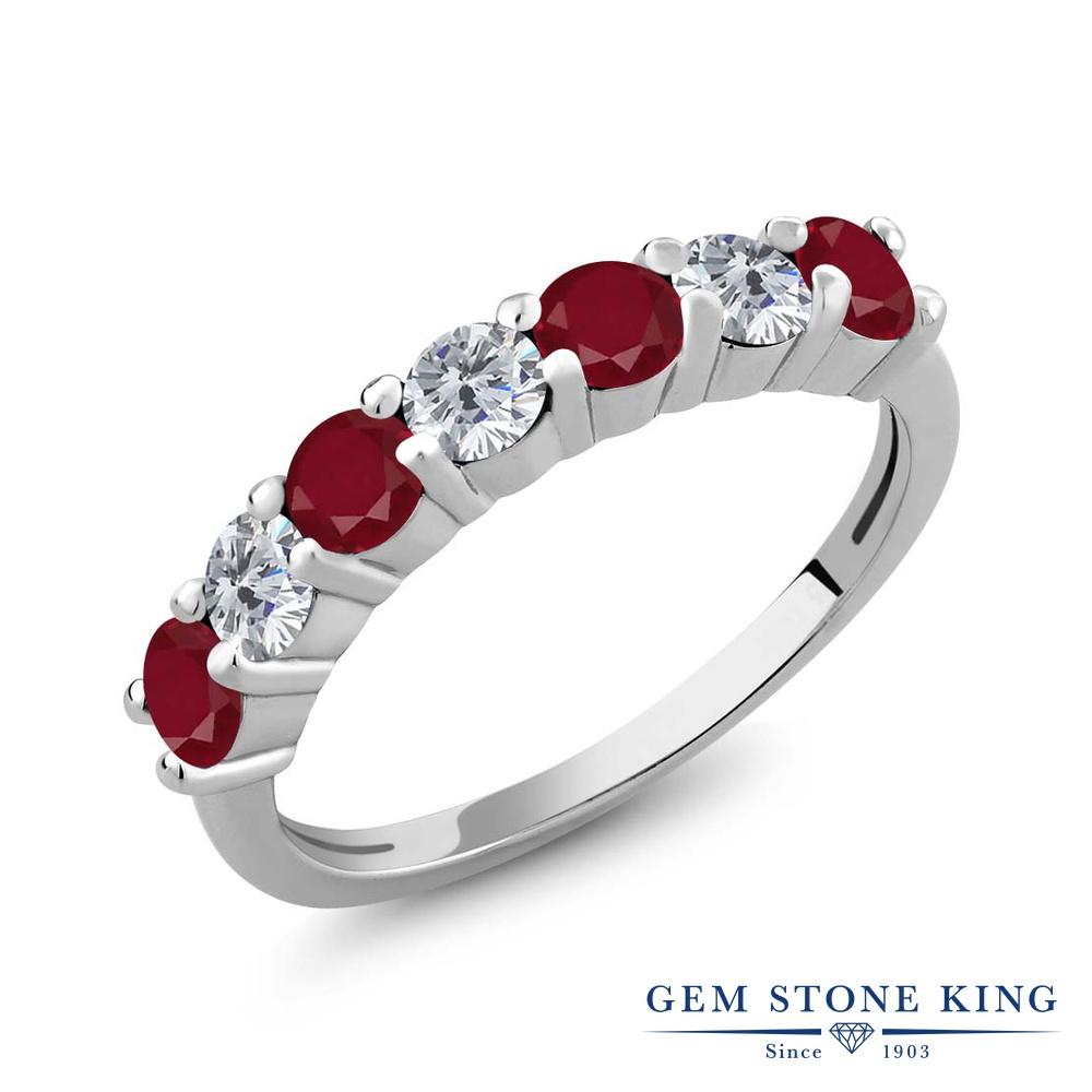 Gem Stone King 1.39カラット 天然 ルビー 天然 ダイヤモンド シルバー925 指輪 リング レディース 小粒 バンド 天然石 7月 誕生石 金属アレルギー対応 誕生日プレゼント