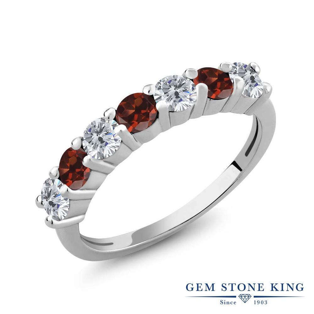 Gem Stone King 1.20カラット 天然ダイヤモンド 天然ガーネット シルバー925 指輪 リング レディース 小粒 天然石 誕生石 誕生日プレゼント