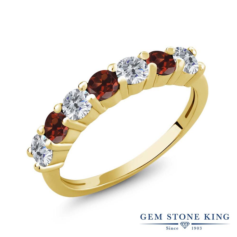 Gem Stone King 1.20カラット 天然ダイヤモンド 天然ガーネット シルバー 925 イエローゴールドコーティング 指輪 リング レディース 小粒 天然石 誕生石 誕生日プレゼント