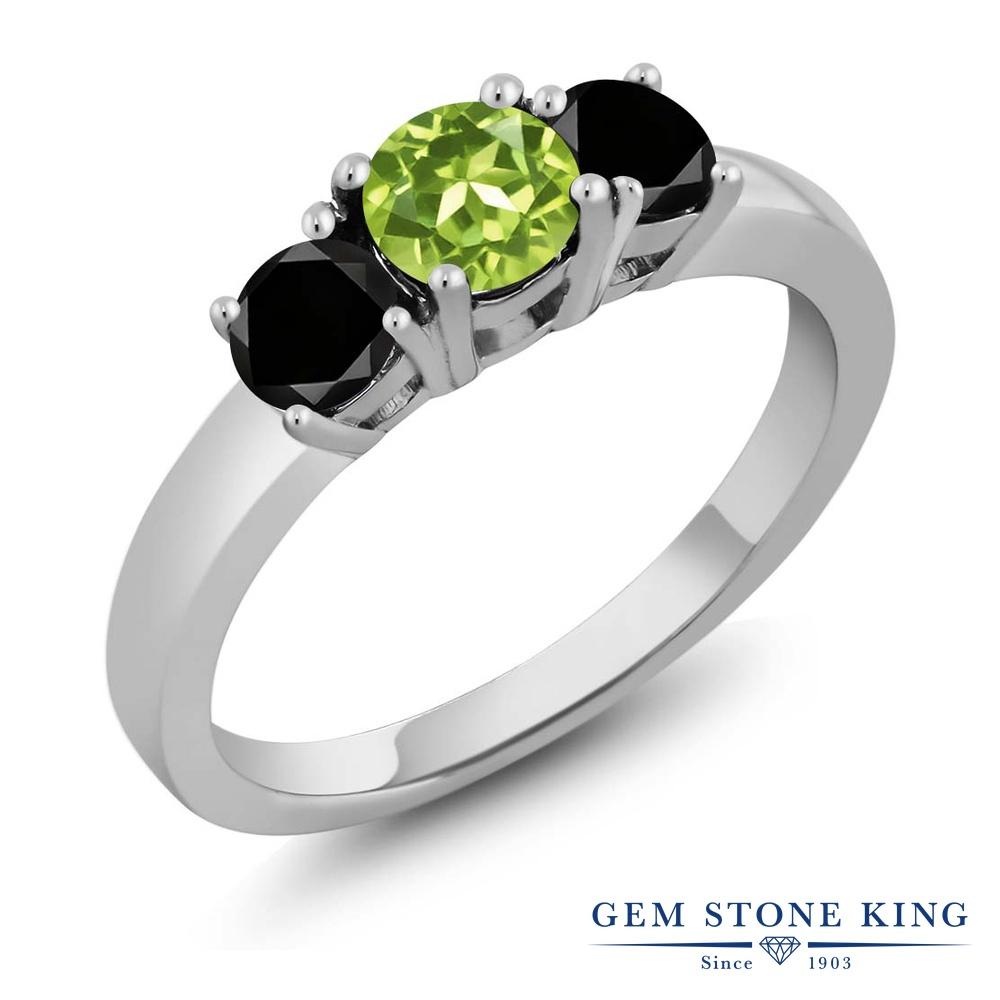 Gem Stone King 1.14カラット 天然石 ペリドット 天然ブラックダイヤモンド シルバー925 指輪 リング レディース スリーストーン シンプル 天然石 8月 誕生石 金属アレルギー対応 誕生日プレゼント