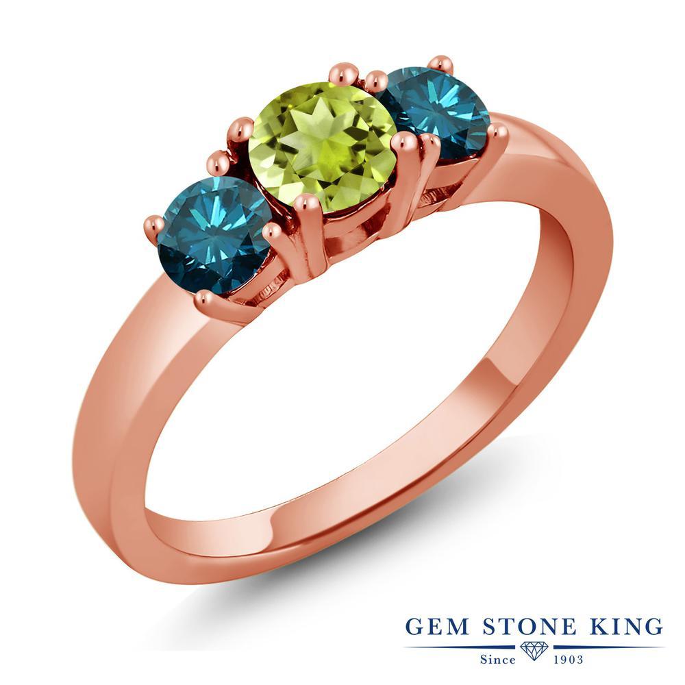 【10%OFF】 1.09カラット 天然石 ペリドット 天然 ブルーダイヤモンド 指輪 リング レディース シルバー925 ピンクゴールド 加工 シンプル スリーストーン 8月 誕生石 プレゼント 女性 彼女 妻 誕生日