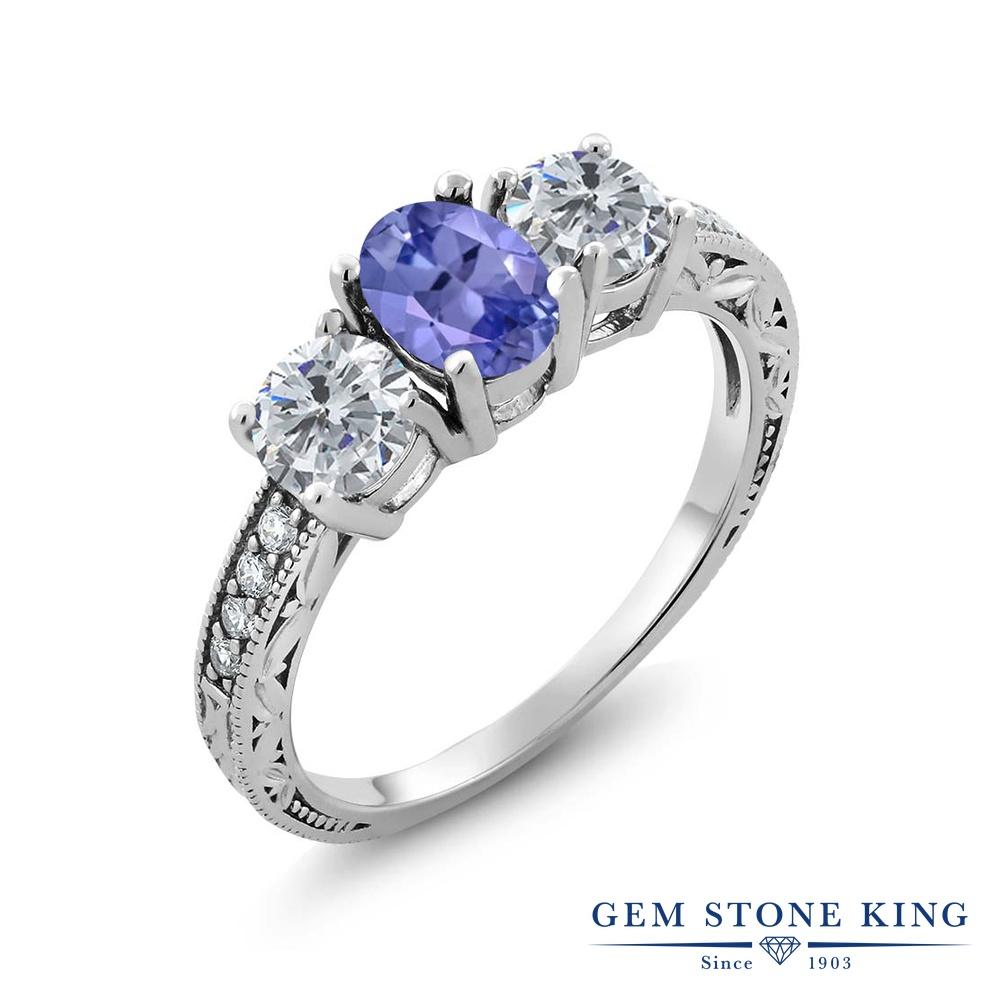 Gem Stone King 1.87カラット 天然石 タンザナイト 天然 ダイヤモンド シルバー925 指輪 リング レディース スリーストーン 天然石 12月 誕生石 金属アレルギー対応 誕生日プレゼント