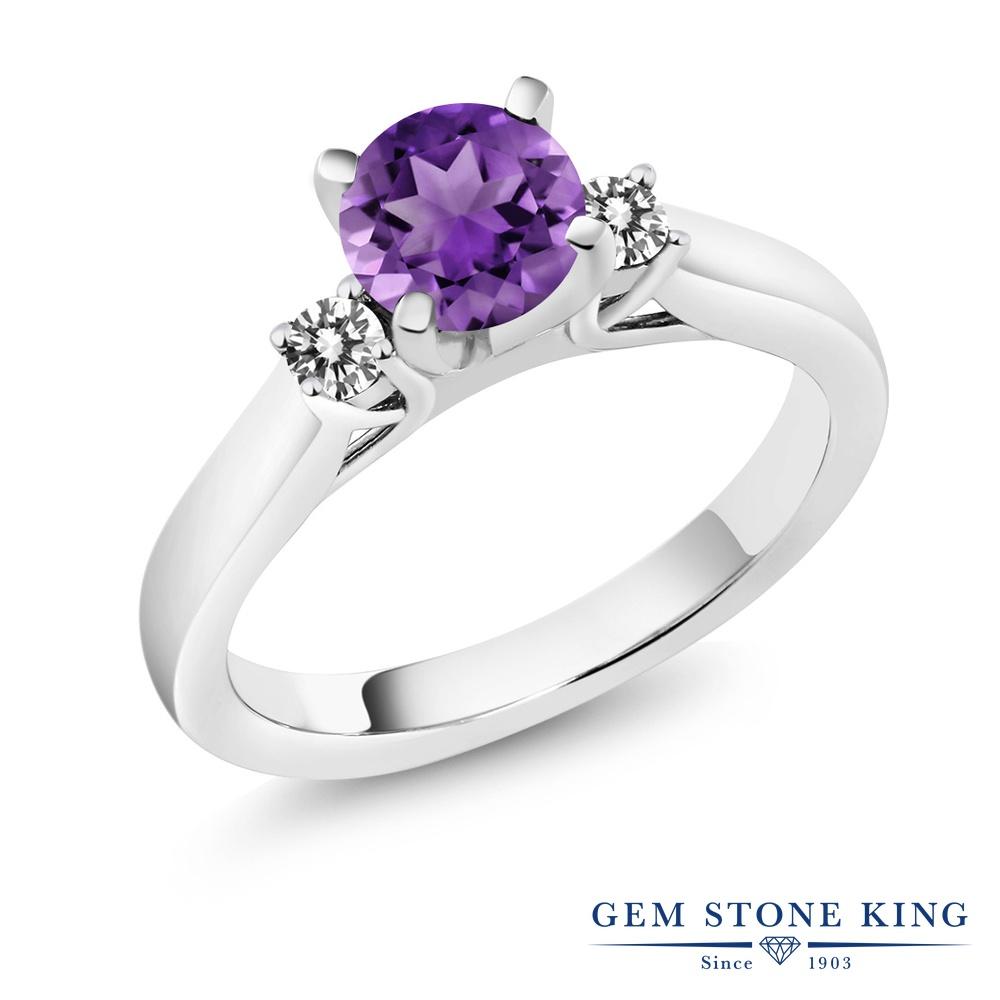 0.95カラット 天然 アメジスト 指輪 レディース リング ダイヤモンド シルバー925 ブランド おしゃれ スリーストーン アメシスト 紫 シンプル 天然石 2月 誕生石 婚約指輪 エンゲージリング