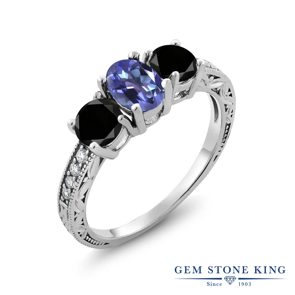 Gem Stone King 2.02カラット 天然 ミスティックトパーズ (タンザナイトブルー) 天然ブラックダイヤモンド シルバー925 指輪 リング レディース スリーストーン 天然石 金属アレルギー対応 誕生日プレゼント
