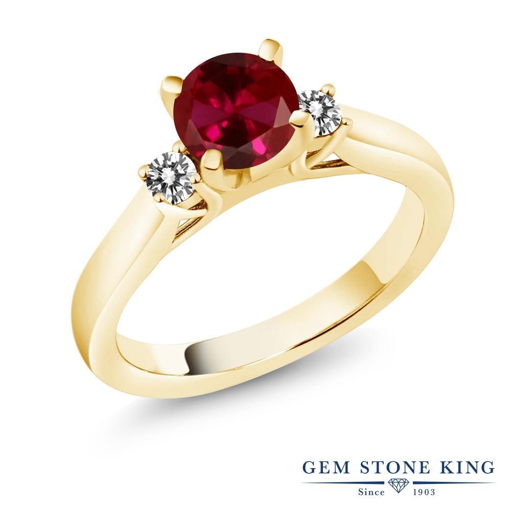 1.2カラット 合成ルビー 指輪 レディース リング 天然 ダイヤモンド イエローゴールド 加工 シルバー925 ブランド おしゃれ スリーストーン 赤 大粒 シンプル 婚約指輪 エンゲージリング
