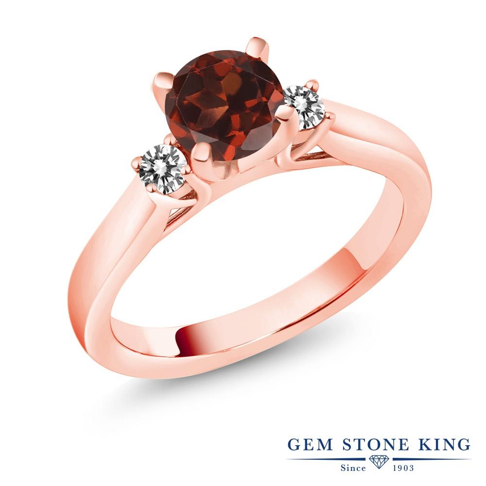 1.2カラット 天然 ガーネット 指輪 レディース リング ダイヤモンド ピンクゴールド 加工 シルバー925 ブランド おしゃれ スリーストーン 赤 大粒 シンプル 天然石 1月 誕生石 婚約指輪 エンゲージリング