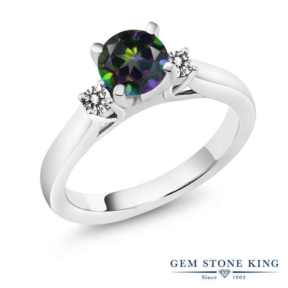 1.2カラット 天然石 ミスティックトパーズ (グリーン) 指輪 レディース リング 天然 ダイヤモンド シルバー925 ブランド おしゃれ スリーストーン 緑 大粒 シンプル 婚約指輪 エンゲージリング