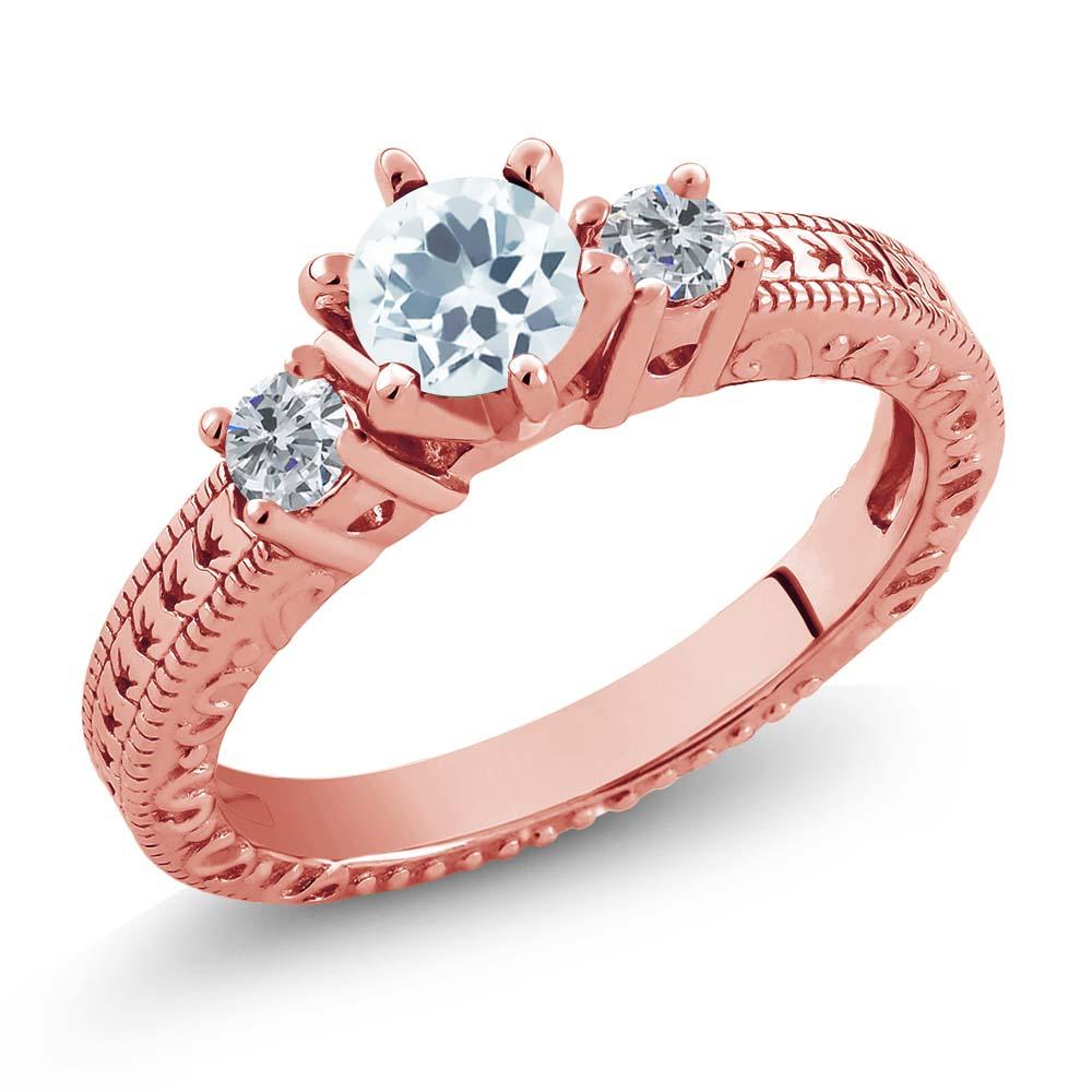 大注目 0.69カラット ローズゴールドコーティング 天然アクアマリン シルバー 925 ローズゴールドコーティング 925 天然ダイヤモンド 指輪 指輪 リング 小粒 クリスマスプレゼント, サイクリー:ad65e2c2 --- delipanzapatoca.com