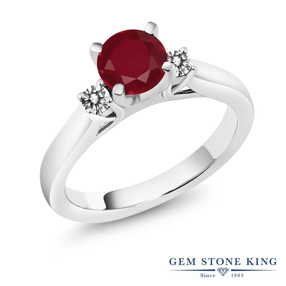 1.25カラット 天然 ルビー 指輪 レディース リング ダイヤモンド シルバー925 ブランド おしゃれ スリーストーン 赤 大粒 シンプル 天然石 7月 誕生石 婚約指輪 エンゲージリング