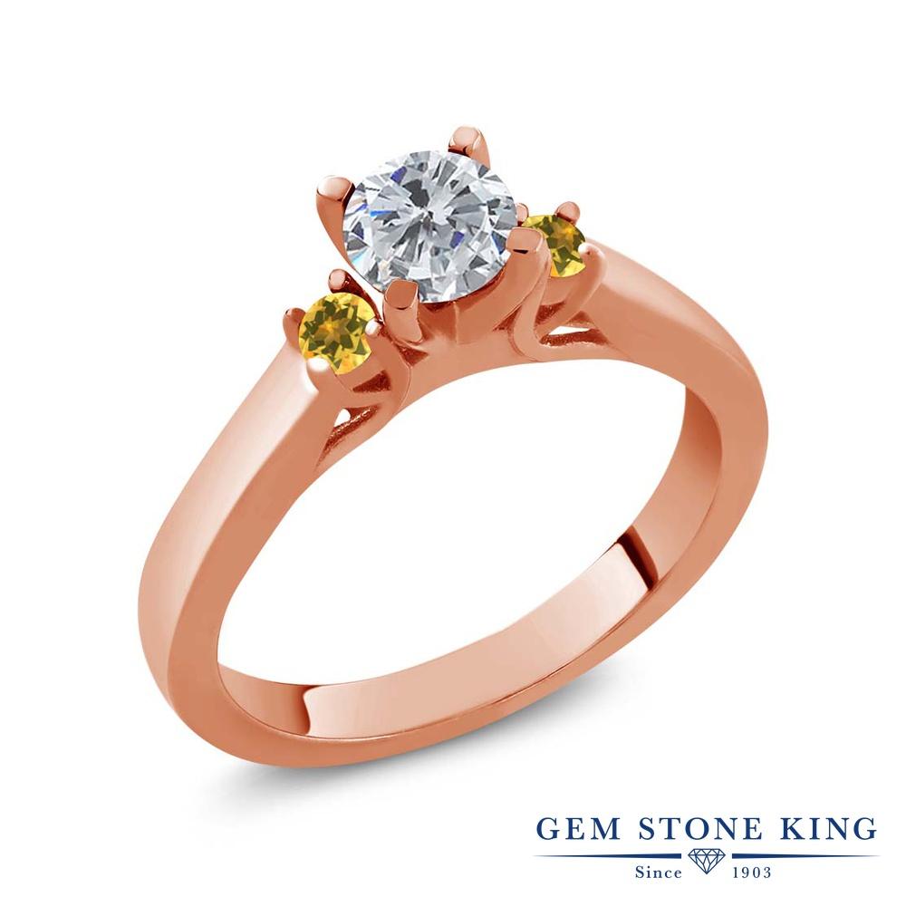 0.64カラット 天然 ダイヤモンド 指輪 レディース リング イエローシトリン ピンクゴールド 加工 シルバー925 ブランド おしゃれ スリーストーン ダイヤ 小粒 シンプル 天然石 4月 誕生石 プレゼント 女性 彼女 妻 誕生日