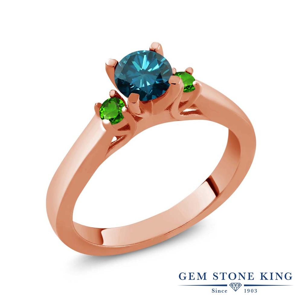 Gem Stone King 0.69カラット 天然 ブルーダイヤモンド シミュレイテッド ツァボライト (グリーンガーネット) シルバー925 ピンクゴールドコーティング 指輪 リング レディース ブルー ダイヤ スリーストーン シンプル 天然石 4月 誕生石 金属アレルギー対応