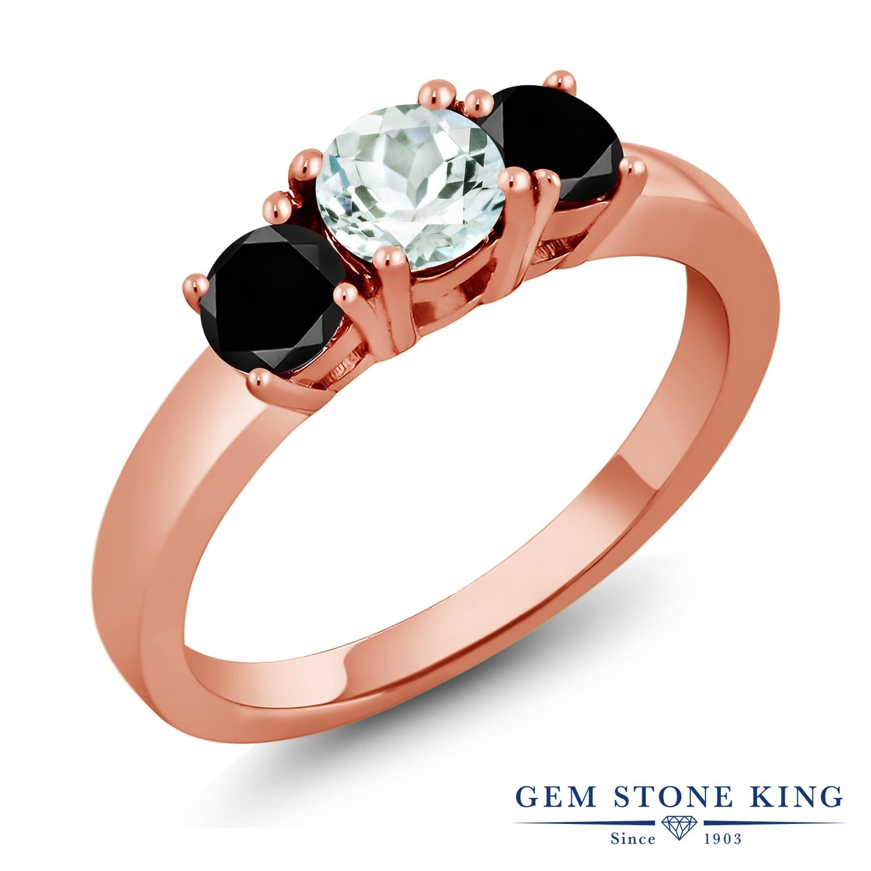 Gem Stone King 1.04カラット 天然 アクアマリン 天然ブラックダイヤモンド シルバー925 ピンクゴールドコーティング 指輪 リング レディース 小粒 シンプル スリーストーン 天然石 3月 誕生石 金属アレルギー対応 誕生日プレゼント