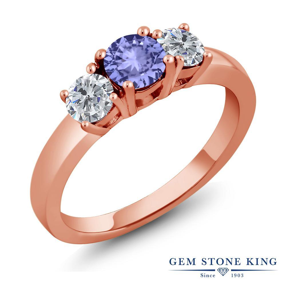 0.96カラット 天然石 タンザナイト 天然 ダイヤモンド 指輪 リング レディース シルバー925 ピンクゴールド 加工 小粒 シンプル スリーストーン 12月 誕生石 プレゼント 女性 彼女 妻 誕生日