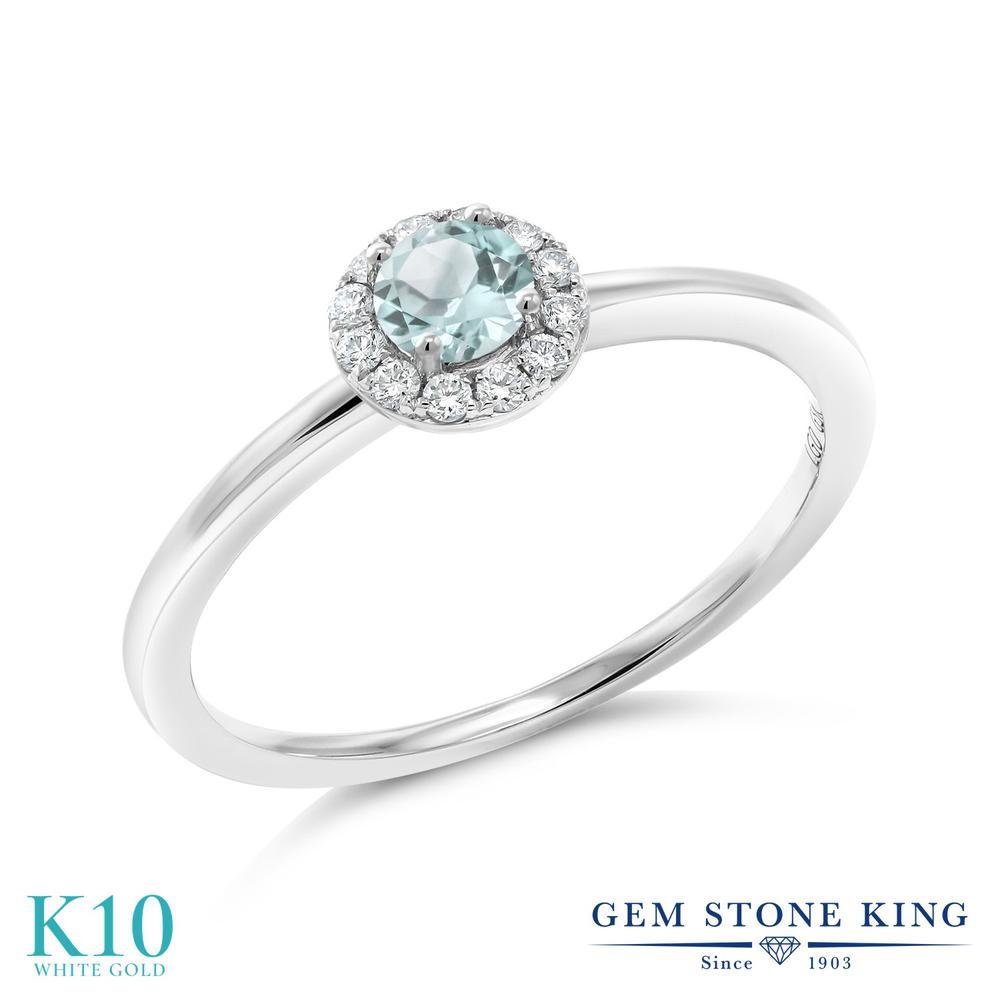 Gem Stone King 0.39カラット 天然 スカイブルートパーズ 合成ダイヤモンド 10金 ホワイトゴールド(K10) 指輪 リング レディース 小粒 天然石 11月 誕生石 金属アレルギー対応 誕生日プレゼント