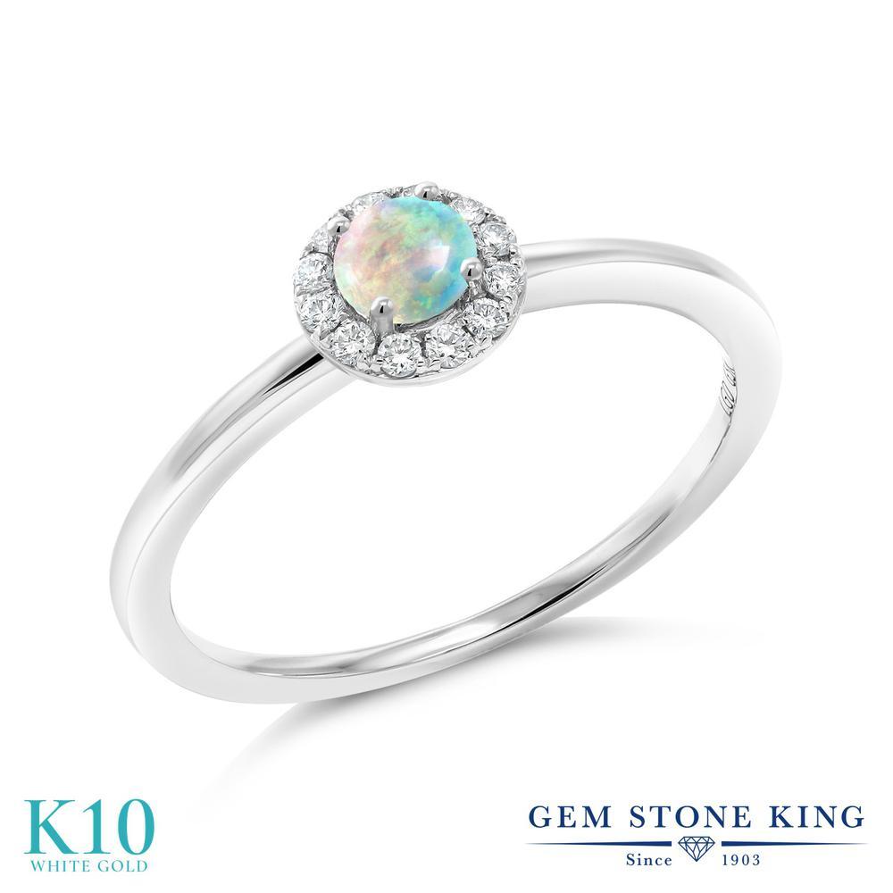 Gem Stone King 0.31カラット シミュレイテッド ホワイトオパール 合成ダイヤモンド 10金 ホワイトゴールド(K10) 指輪 リング レディース 小粒 10月 誕生石 金属アレルギー対応 誕生日プレゼント