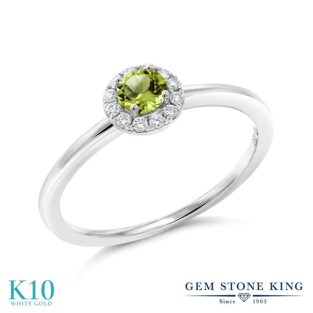 Gem Stone King 0.36カラット 天然石 ペリドット 合成ダイヤモンド 10金 ホワイトゴールド(K10) 指輪 リング レディース 小粒 天然石 8月 誕生石 金属アレルギー対応 誕生日プレゼント